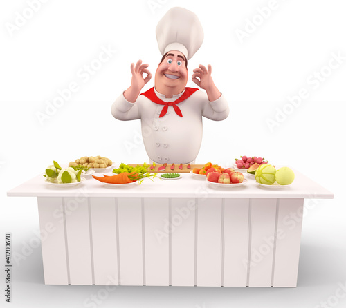 Chef with vegetable on the table