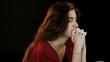 Girl praying intense