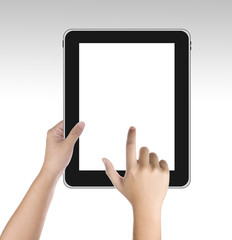 Male hand holding tablet PC