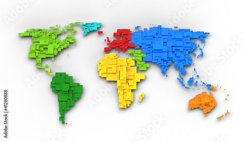 World map of rainbow colors, cube design