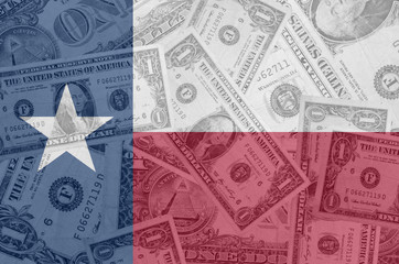 US state of texas flag with transparent dollar banknotes in back