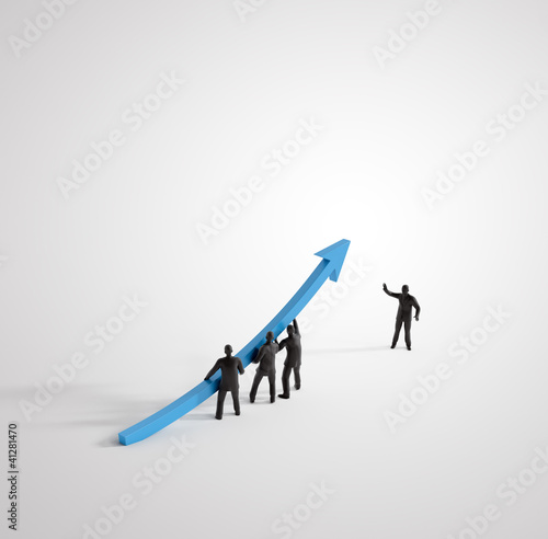 Tiny 3D people raising a graph arrow
