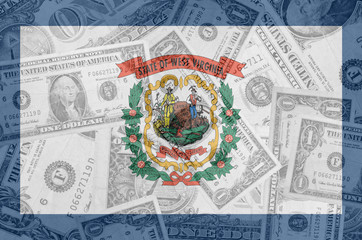 US state of west virginia flag with transparent dollar banknotes