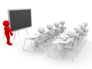 3d person showing the blackboard by hand