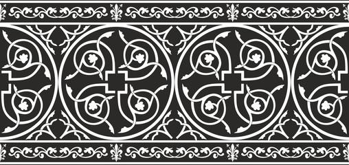 Seamless gothic floral vector border with fleur-de-lis