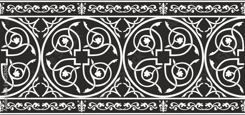 Seamless gothic floral vector border with fleur-de-lis