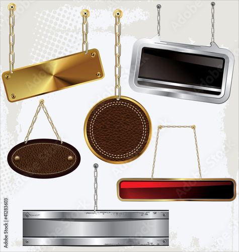 Signs and labels on gold and silver chain