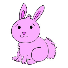 Vector cute pink bunny rabbit cartoon character