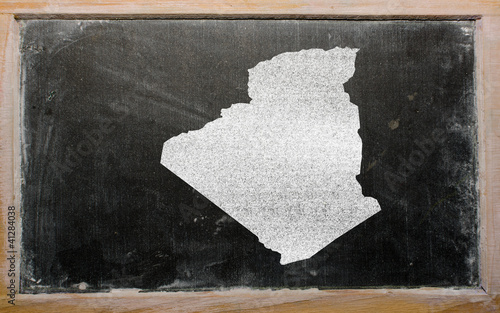 outline map of algeria on blackboard