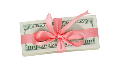 a bundle of US dollars with pink ribbon bow
