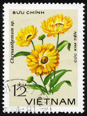 Chrysanthemum flower. Vietnam postage stamp