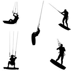 kitesurf détourer en silhouette