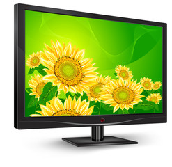 Monitor with sunflowers