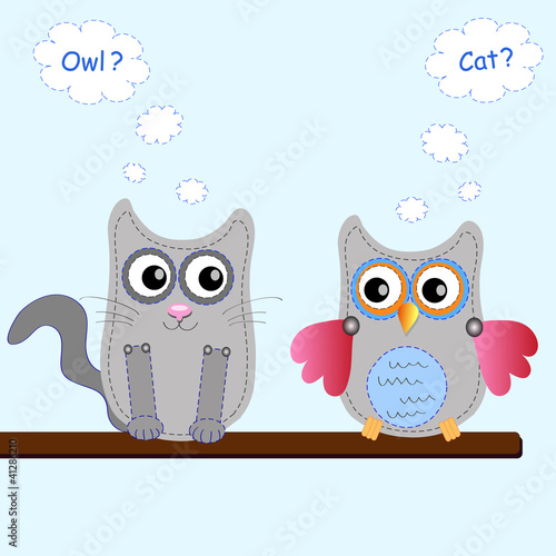 little sweet owl and cat