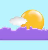 skyline di metropoli con sole e nuvola poster