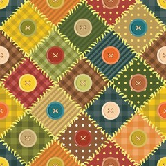 patchwork background with different patterns and buttons