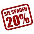 Stempel rot rel SIE SPAREN 20 %