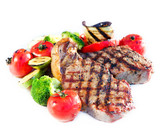 Fototapety Grilled Beef Steak with Vegetables over White Background