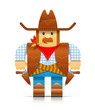 cowboy origami toy vector illustration isolated on white