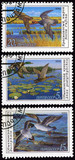 Two mallards in flight, postage stamp of the USSR