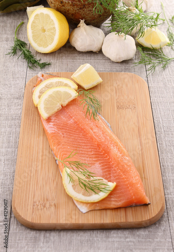 trout filet and ingredients