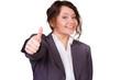 motivierte auszubildende zeigt daumen hoch
