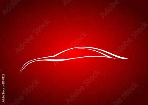 Kırmızı fonda otomobil