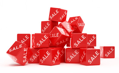 red sale cubes stacked