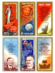 First manned flight into space, postage stamp of the USSR