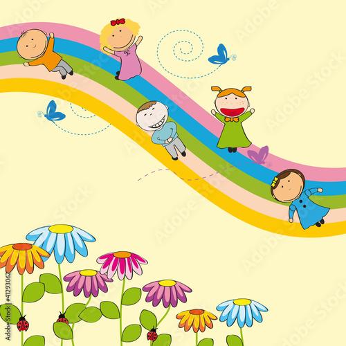 Deurstickers Regenboog Happy kids