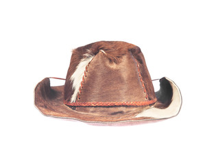 Buffalo skin hat isolated on white