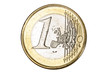 One euro coin over white background