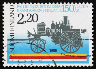 Postage stamp Finland 1988 Horse-Drawn, Steam-Driven Fire Pump f