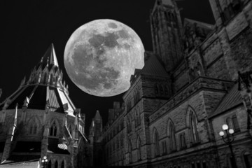 Castle with full moon