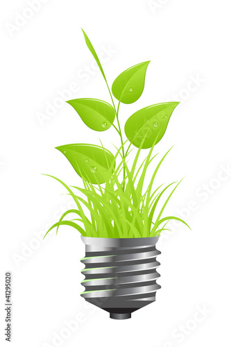 Light bulb with plant and grass