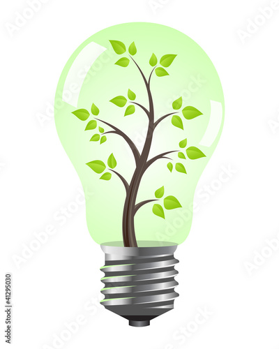 Light bulb with tree