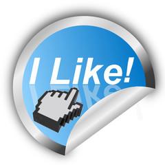 Sticker- I Like! mit Cruzer Hand