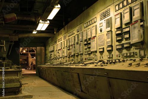 In de dag operator room at old creepy dark decaying dirty factory