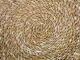 Fundo de artesanato de trança de palha em espiral