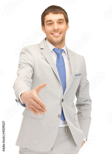man with an open hand ready for handshake