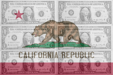 US state of california flag with transparent dollar banknotes in
