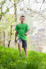 Boy walking outdoor