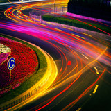 Fototapety moving car with blur light through city at night