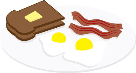 Eggs, bacon and toast on a plate