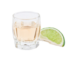 Tequila shot isolated on white