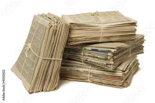 Bundles of newspapers for recycling
