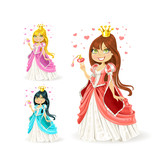 beautiful fairy princess in a different color variations
