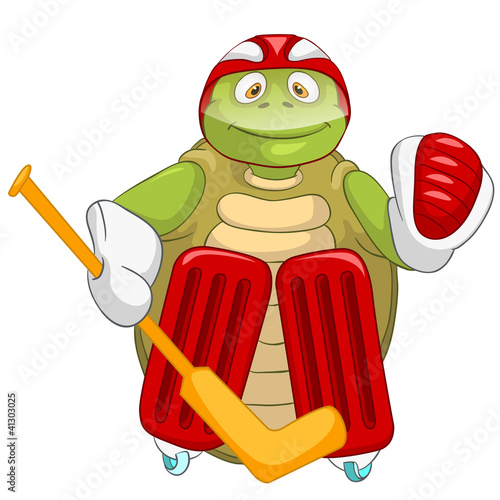 Funny Turtle. Hockey Goalie.