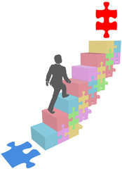 Business man climb up puzzle steps
