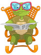 Funny Turtle Reading.